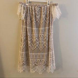 4 / $25 Off the Shoulder Boho Lace Dress XS
